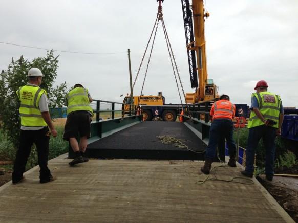 Bridge installation at Gravel Bank